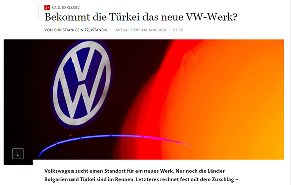 Volkswagen Türkiye'de Yeni Fabrika Kuracak!