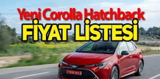 Yeni Toyota Corolla Hatchback fiyat listesi