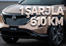 Yeni Nissan Ariya 1 şarjla 610 kilometre gidebiliyor!